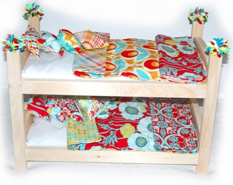 Double Doll Bunk Bed - Pretty Red Poppies American Made Girl Doll Bunk Bed - Fits 18 inch dolls and AG dolls