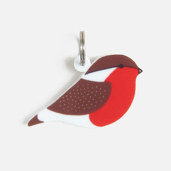 Robin Bird Keyring / Keychain - red brown black white laser cut acrylic decoration bird charm mothers day Christmas stocking filler