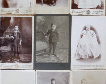 9 Antique Cabinet Card Photographs of Children