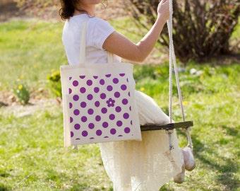 Polka Flower Canvas Tote Bag (Natural Handle)