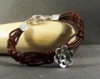 Boho Leather Bracelet, Sterling Silver Bracelet, Flower Charm, Women's Bracelet, Brown Leather Bracelet