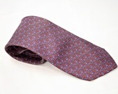 Vintage Silk Neck Tie Mens Red Blue White Olive Green Mini Paisley Print Patriotic 4th of July
