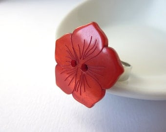 Flower Ring, Button Ring, Red Flower Ring, Shell Flower, Shell Ring, Beach Jewellery, Adjustable Button Ring, UK Etsy