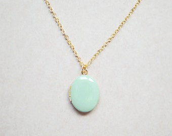 Mint Oval Photo Locket - Custom Charm Color - Medium