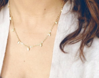 Small Leaf Charm Necklace - Layering Chain Style