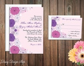 Wedding Invitation - Spring Flowers in Pink and Purple - Garden Party - Invitation and RSVP Card with Envelopes