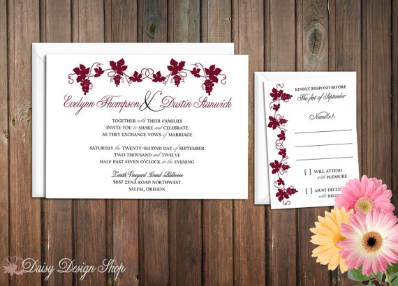 Wedding Invitation - Vineyard Grape Vine and Elegant Script - Invitation and RSVP Card with Envelopes