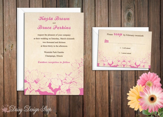 Wedding Invitation - Spring Flowers in Pink and Brown - Vintage Botanical Garden - Invitation and RSVP Card with Envelopes