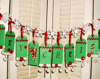 Handmade CHRISTMAS BANNER/GARLAND, Homespun Decoration Created With Vintage Tags, Fabric Trim, Buttons, Rik-Rak & Ribbon, Charming Gift