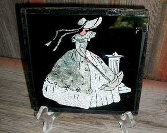 VINTAGE REVERSE PAINTED Foiled Picture, Smaller Size, Silver & Black Lady w/Parasol, Perfect for Small Space!