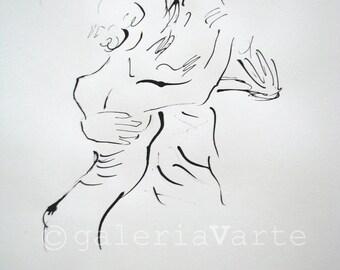 Original ink drawing - Dance - europeanstreetteam