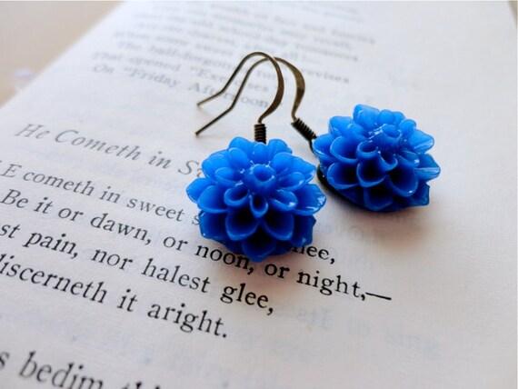 Royal blue mum / chrysanthemum flower cabochon earrings, How Does Your Garden Grow