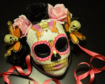 Hawkmoth Princess - Day of the Dead Mask  - Pink Orange and Black Butterfly Spring Rose Flower Headdress Dia de los muertos