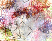 """Language 10, small, abstract, original, 6"""" x 8.5"""" drawing"""