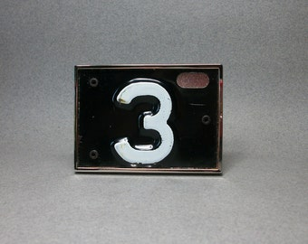 Belt Buckle Number 3 Three White on Black Cool Gift for Men or Women