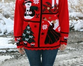 UGLY CHRISTMAS SWEATER - Frosty The Snowman Angel Tree Gold Glitter Slouchy Holiday Sweater Unisex