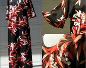 Vintage 70s XL XXL Muu Muu Hawaiian Dress - Black & Coral Pikake Print