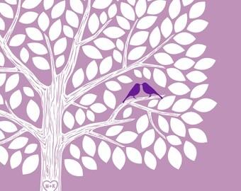 Wedding Tree Guest Book, Wedding Guest Book, Personalized Wedding, Purple Wedding Guest Book Alternative 100 guests - DIGITAL PRINTABLE JPEG