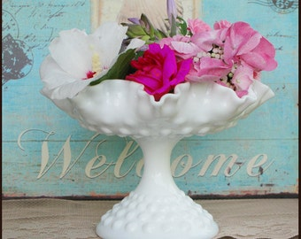 Milk Glass Hobnail Compote /Milk Glass Wedding Centerpiece/ Candy Bar Buffet/ Wedding Dessert Table