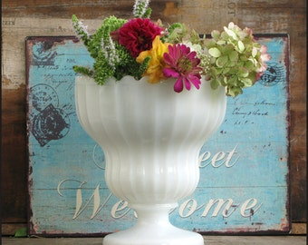 Large Milk Glass Planter /Milk Glass Wedding Centerpiece