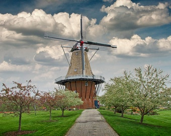 Dutch Windmill the DeZwaan on Windmill Island in Holland Michigan during Tulip Time Festival No.112 - A Fine Art Landscape Photograph