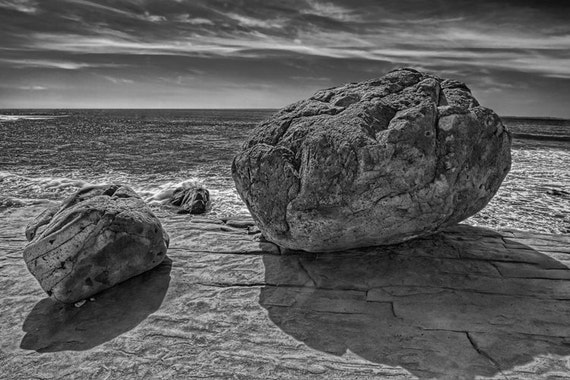 Boulders on a Cliff above the Tide Pools on Point Loma in San Diego California No.139BW A Black and White Fine Art Seascape Photograph