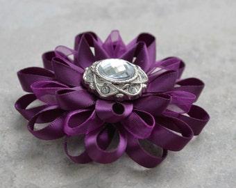 Purple Hair Flower Clip, Purple Flower Clip, Big Purple Clip, Deep Purple and Silver, Adult Hair Clip, Purple Wedding Hair Accessories