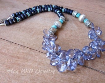 Quartz Blue Goldstone Sleeping Beauty Turquoise Long Necklace, Women's Artisan Chunky Necklace, Long Gemstone Necklace