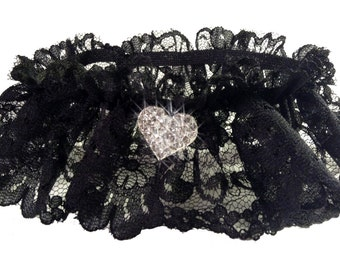 Sexy Black Lace Garter with Sparkling Crystal Heart