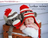 Sock Monkey hat..baby hat... newborn photo prop...crochet hat...  Photography Prop..Newborn photo prop..20% off with code VALEN1 at checkout