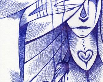 Original Drawing My Heart it Bleeds