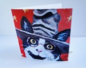 Cat Harry Potter Art Greeting Card From my Original Painting