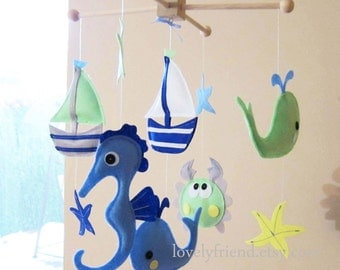 "Baby Mobile - litlle boats Crib Mobile - ""Neutral wood baby sea critters"" mobile  - Handmade Nursery Mobile (Match your bedding)"