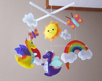 "Dragon Baby Mobile - Nursery Mobile - Rainbow Crib Baby Mobile - ""purple dragon and rainbow "" Mobile (Custom Color Available)"