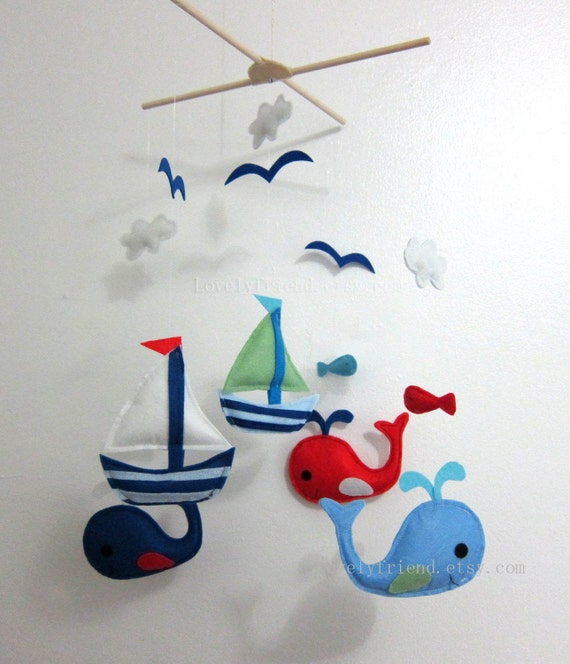 Baby Mobile - whale and sailboat baby crib mobile - felt sea whale decorate mobile - cloud and seagulls nursery mobile - cute baby mobile