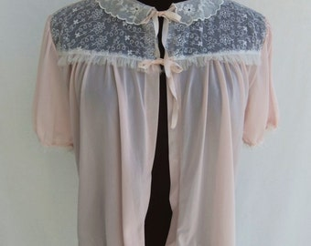 Vintage 60s Bed Jacket Pink Nylon and White Embroidered Chiffon Yoke with Ruffle Size S