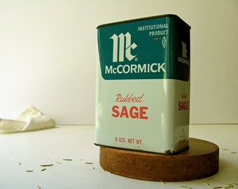 Vintage McCormick Spice Tin Box Rubbed Sage Large Industrial Metal Size 9 Ounces Restaurant Kitchen Home Decor Kitchen Collectibles Display