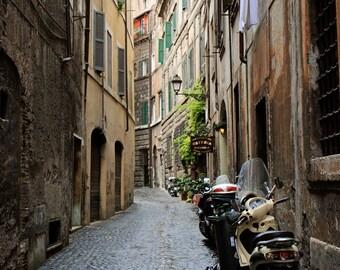 Rome Art - Rome Italy Photography - Italian Wall Art Streets of Rome Print Vespa Photo Roman Architecture Street Photography Rustic