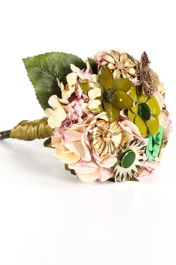 Sale green gold brooch bouquet silk flowers by theritzyrose for Fall wedding bouquets for sale