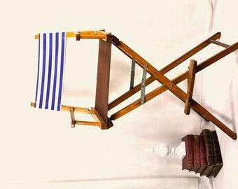Directors Beach Chair Bar Height Nautical Blue White Stripes Beach Vintage Folding Chair Seat Made in America