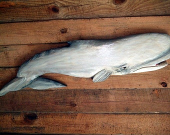 "Sperm Whale 50"" rustic chainsaw whale carving seaside cottage nautical wooden decor Todd Lynd original art vintage beach home wall mount"