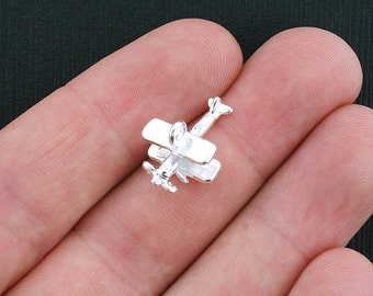 5 Airplane Charms Silver Tone 3D - SC3571