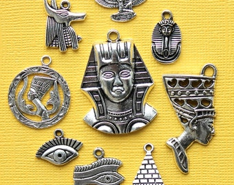 Egypt Charm Collection Antique  Silver Tone 9 Charms - COL289