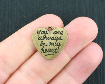 BULK 30 Heart Charms Antique Bronze Tone You Are Always In My Heart 2 Sided - BC1007