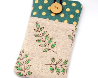 iPhone 6 plus sleeve, iPhone pouch, Samsung Galaxy S3, S4, Galaxy note, nexus, ipod classic touch sleeve - Garden leaves (P-32)