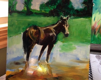 Now And Forever, Brown Horse Oil Painting on raised hardboard