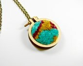 Hand Embroidered Mini Hoop Necklace-Soft Embroidery in Teal