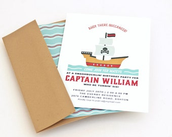 Pirate Party Invitation,  Invite for Kid's  Birthday Party // PIRATE SHIP