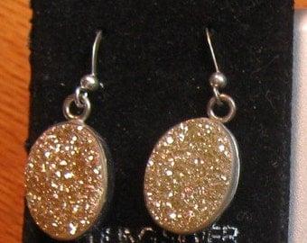 Copper Drusy Quartz Stone earrings in sterling