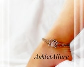 Strong Like You Butterfly Anklet Pink Agate Double Chain Silver Ankle Bracelet